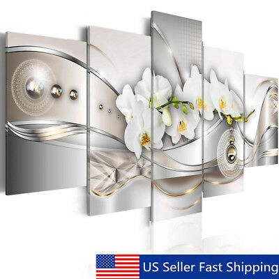 5 Pannel Modern Abstract Flower Giclee Canvas Print Picture Wall Art Home Decor