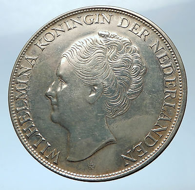 1944 Netherlands Kingdom Queen JULIANA Antique Silver 2 1/2 Gulden Coin i73877