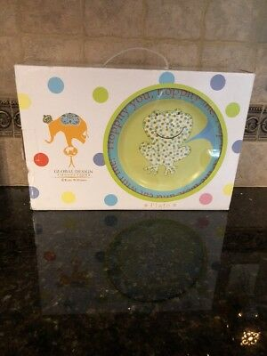 Global Kids 3-Piece Dinnerware Set - Plate/bowl/mug - Frog Pattern - Cute!!!