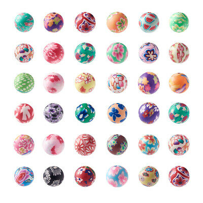 50 PCS Mixed Polymer Clay Fimo Flower Round Loose Spacer Beads 10mm Jewelry DIY