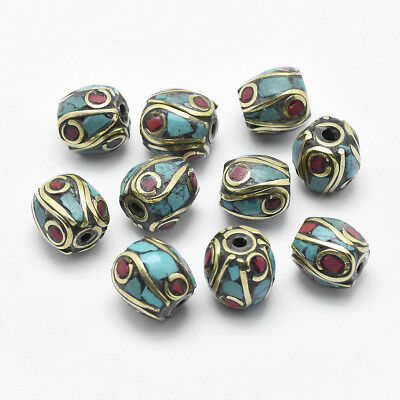 10/50pcs Indonesia Handmade Beads Brass Coral Turquoise Oval Bead DIY Jewelry