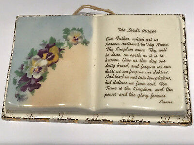 """Vintage THE LORD'S PRAYER Violets Ceramic Wall Hanging Plaque 5.5"""" x 3.5"""" x .75"""""""