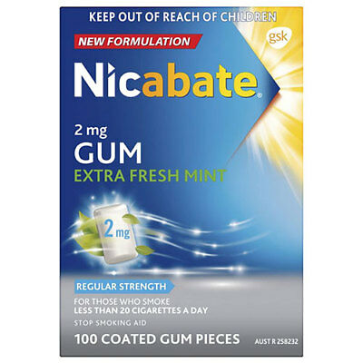 NEW Nicabate Gum Extra Fresh 2mg - 100 Pack