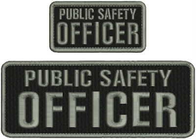 PUBLIC SAFETY OFFICER embroidery patches 3x8and 2x4 hook  set patches