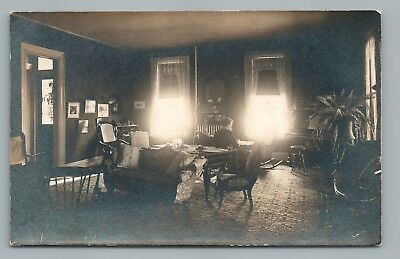 Glowing Windows in Parlor Interior RPPC Antique Real Photo Postcard AZO 1910s