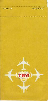 Vintage 1970 TWA Airlines ticket jacket with luggage tags