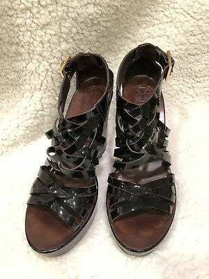 a063b6a99290 Tory Burch Size 8 Womens  Wedge Sandals Strappy Black Patent Leather  Designer