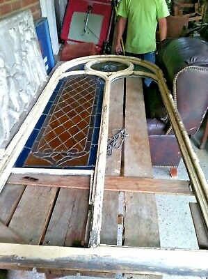 HUGE Late 1800s Antique HUGE Salvaged CHURCH STAINED GLASS ARCH WINDOWS Set of 7