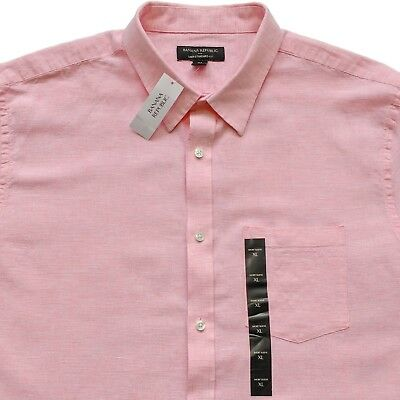 New Banana Republic Pink Mens XL Linen Shirt Standard Fit Short Sleeve
