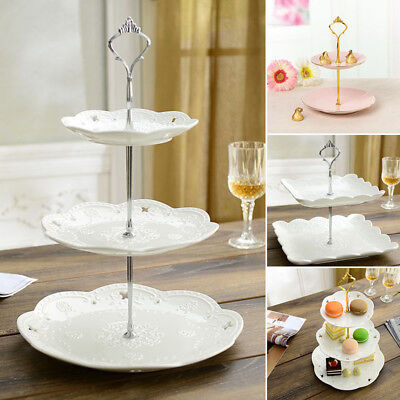 2/3 Tier Cake Cupcake Plate Stand Birthday Wedding Party Food Holder Trays