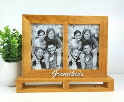 "Wooden standing ""GRANDKIDS"" twin photo frame 