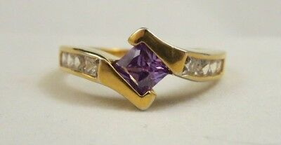 18KT GE Marked Gold RS Covenant Purple Crystal & CZ Ring Signed RSC Sz 10.5
