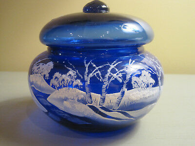 Fenton Art Glass Cobalt Blue  MARY GREGORY COVERED CANDY DISH  Hand Painted