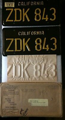 1969 California License Plate. Brand new! Black and Yellow. Perfect!!