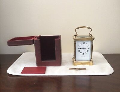 ANTIQUE FRENCH CARRIAGE CLOCK WITH CASE MADE FOR HARRODS OF LONDON c1905