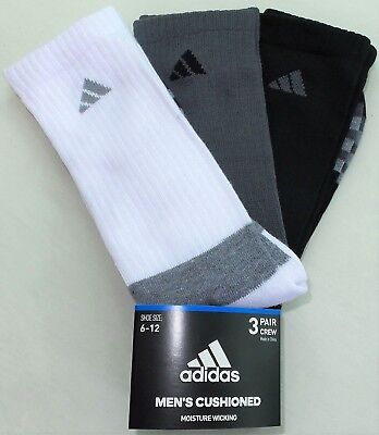 adidas Men's Crew Socks 3 Pair Pack Large Black Grey White Cushioned New w Tags