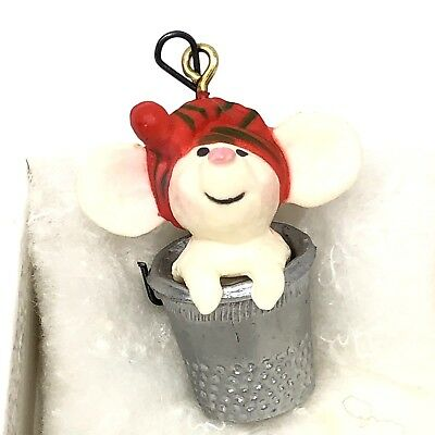 Hallmark Merry Mouse In Thimble Tree Trimmer Christmas Ornament 1978 Vintage