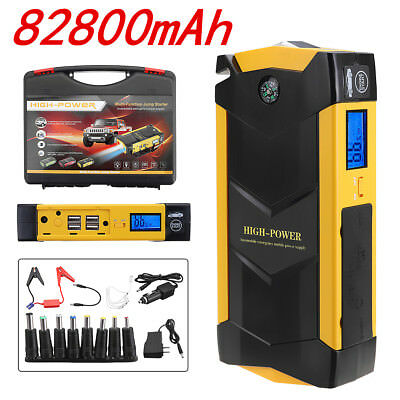 82800mAh 12V Car Jump Starter Battery Charger LED Emergency 4 USB Power