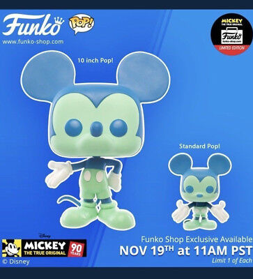 Funko Pop! Disney Mickey Mouse 90th Anniv. Blue Green Figure Set of 2 In-Hand