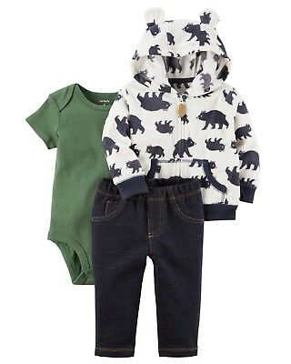 6dccecaf0 NWT Carters Baby Boy Clothes 9 Months 3 Piece Bear Jacket Bodysuit Pants  Outfit
