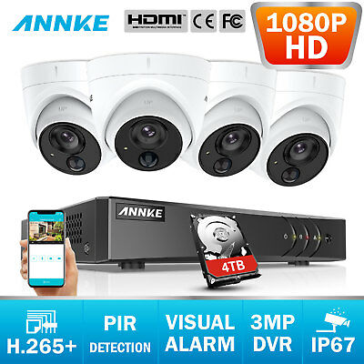ANNKE 8CH 3MP H265+ DVR PIR 1080P Dome Security Camera System Light Flashing Dec