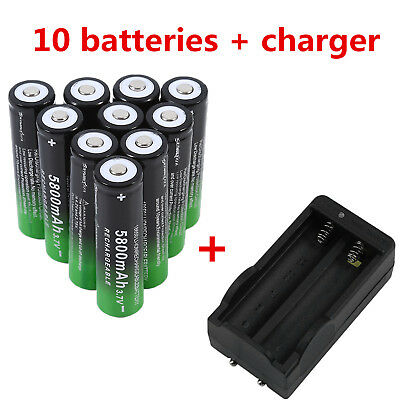 10Pc Rechargeable 18650 Batteries 5800mAh 3.7V Li-Ion Battery + US charger Lo QW