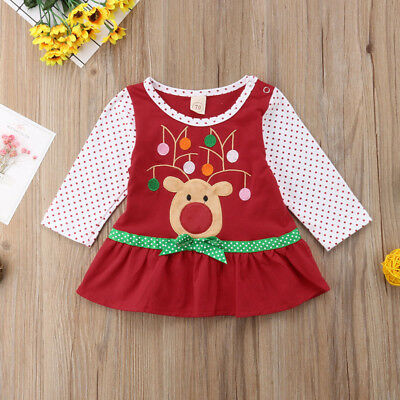 Christmas Toddler Kids Baby Girl Xmas Long Sleeve Cotton Casual Dress Clothes