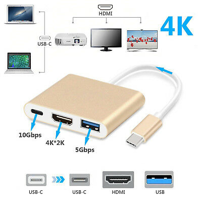 USB C to HDMI Adapter 4K,3 in 1 Type-C to HDMI Multiport Adapter USB 3.0 Female