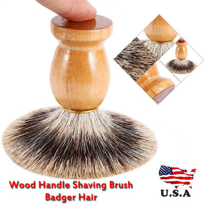 1PC Men Shaving Bear Brush Faux Badger Hair Shave Wood Handle Razor Barber Tool