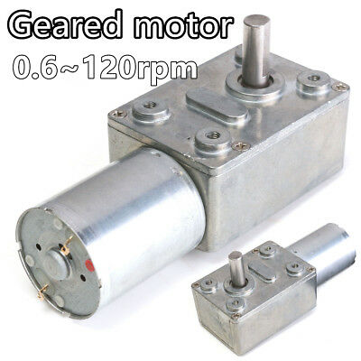 Reversible High Torque Turbo Worm Geared Motor Reduction Motor DC 12V 0.6-120RPM