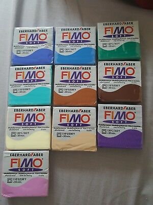 FIMO Soft Polymer Modelling Clay of 10 x 56g Clays all different colours