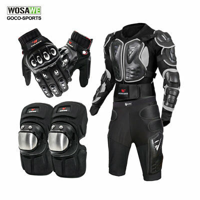 Motorcycle Full Body Protective Gear Jacket Knee Pad Hip Shorts Motorbike Gloves