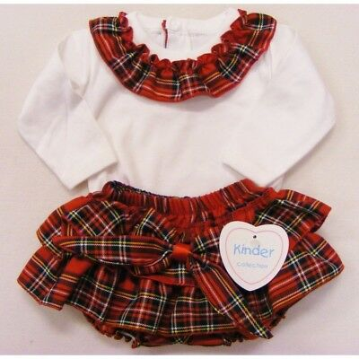 Baby Girls Spanish Style Frilly Red Tartan Jam Pants & White Top Up to 24 Months