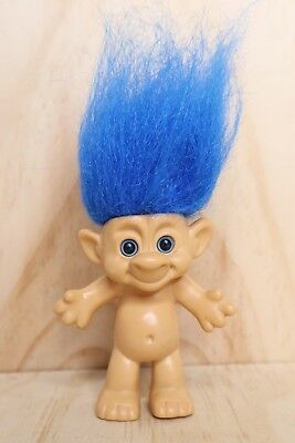 Vintage IMM Forest Troll Doll Blue Hair - 4 Inch