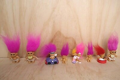 Vintage Russ Troll Dolls - 2 x Brooch, 1 x Stamp, 1 x Car, 4 x Baby, 1 x Cuddle