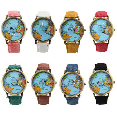 Women Men Fashion Vintage Casual World Map Dial Analog Quartz Wrist Watch ZZFZ~#