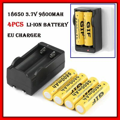 4X 18650 Li-ion Battery 9800mAh 3.7V Rechargeable Batteries & Battery Charger QP