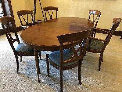 Surprising 7 Piece Solid Cherry Wood French Formal Dining Table And Chairs Set Download Free Architecture Designs Grimeyleaguecom