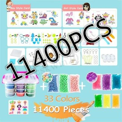 11400Pcs Aqua Refill Fuse Water Bead Sticky Case Tool Kit Kids DIY Toy Gift