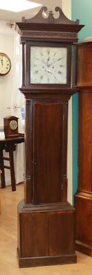 Antique 8-day silvered dial mahogany grandfather clock