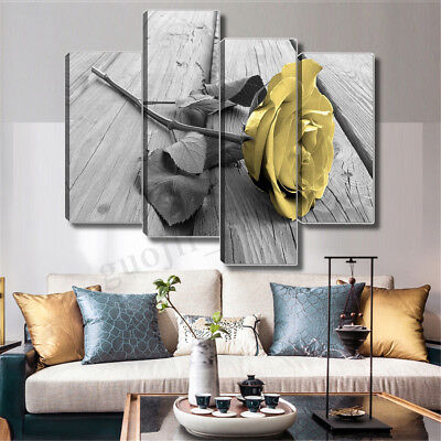 Canvas Art Painting of Yellow Rose Pictures Wall Hanging Living Room Home Decor