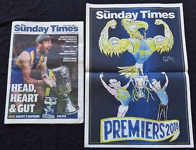 2018 Afl Football West Coast Eagles 18 Page Newspaper Grand Final & Poster