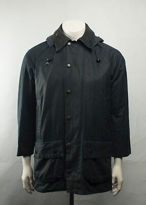 Vintage Barbour Beaufort Waxed Jacket Navy Blue with Hood Size C36/91CM
