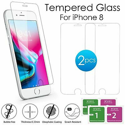Tempered Glass Film Screen Protector For Apple iPhone 8 High Quality 2X