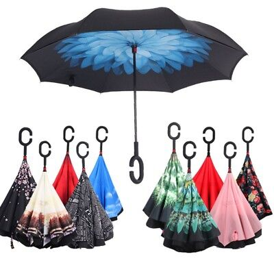 Double Layer Windproof Upside Down Reverse-Umbrella C-Handle Inside-Out Inverted