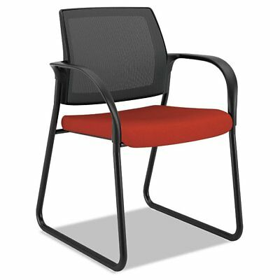 HON Ignition Series Mesh Back Guest Chair with Sled Base,Poppy Fabric Uphols ...