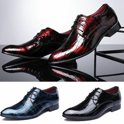 Homme Habillé Business Cuir Chaussure Oxford Formal Lace Up Pointu Toe Mariage