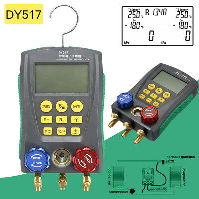 DY517 Digital Manifold Gauge Refrigeration Pressure Tester HAVC 2-Way Valve Tool
