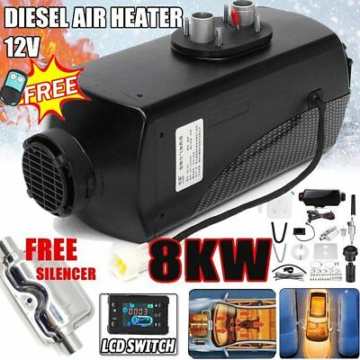 8KW 12V Diesel Air Heater Parking 10L Tank LCD Switch Remote + Silencer L1