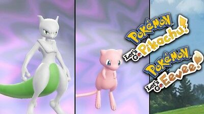 BATTLE READY - Pokemon Let's Go Pikachu & Eevee - 6 IV Shiny Mewtwo & Mew Bundle